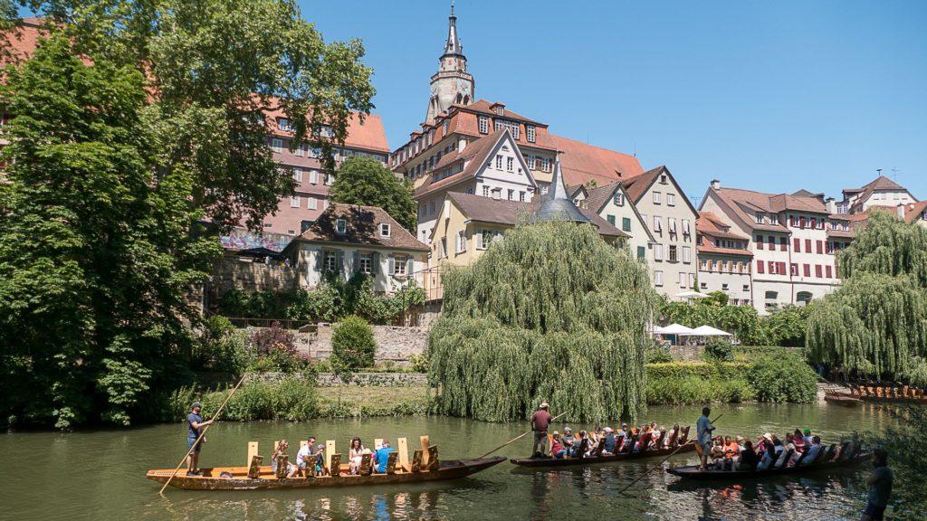 A Tübingen, les barques typiques sur le Neckar